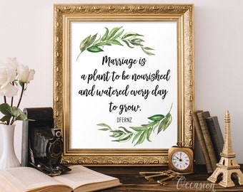 Marriage is a plant to be nourished and watered to grow, Wedding quote sign, Wedding gift, Marriage quote gift, Floral wedding decor, MP1