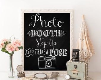 Printable Photo booth sign, photobooth sign, Chalkboard photo booth poster, photo wedding sign, reception decor, Instant Download, PB13