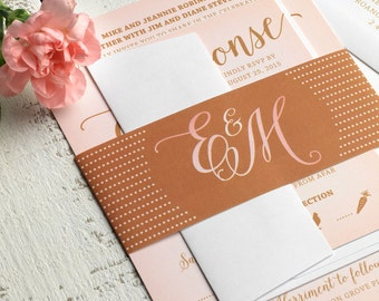 Pink and Gold Wedding Invitation Printable // Modern Calligraphy Wedding Invitation Set // DIY Printable Wedding Invitation