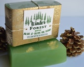 Winter Forest Aloe Vera and Olive Oil Soap, Sulfate Free Rustic Gift, Christmas Scent