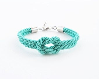 Marine knot bracelet - tie the knot bracelet - mint wedding - bridesmaid bracelet - summer bracelet - wedding favors