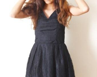1950s Little Black Lace Dress