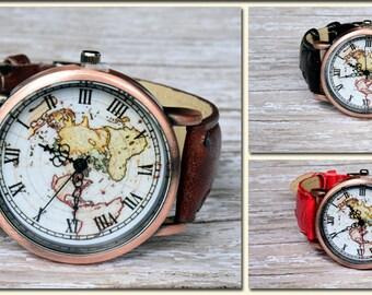 Watch, Leather Watch, Wrist Watch for Woman, Wtach for Men, Travel Watch, World Map Watch, Leather Map Watch, Men Watch Gift, Woman Watch