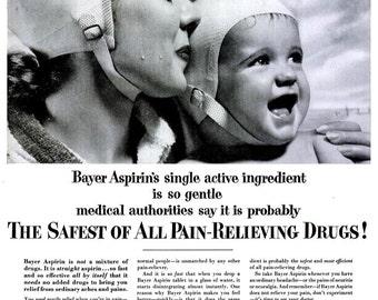 1953 Baby Bayer Aspirin & Norman Rockwell Illustrated Aqua Velva Advertisements Print Poster Children's Nursery Room Wall Art Bathroom Decor