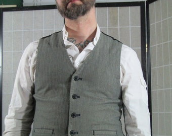 Grey Herringbone Tweed Waistcoat