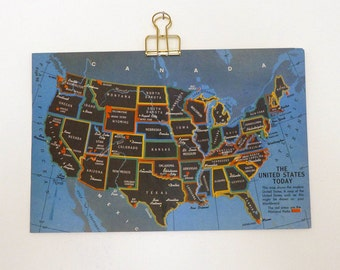 SALE Vintage Map of U.S.A