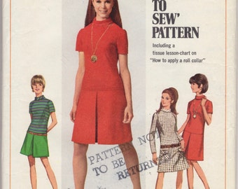 Shift Dress Pattern- Vintage Sewing Pattern 1960s Womens Low-Waisted Belted Shift Dress Size 14 Bust 24 Simplicity 7271