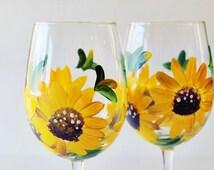 Sunflower Decor- Painted wine glasses- hand painted sunflowers- Wine glasses - bridal shower favors- Sunflower wine glasses- Gift for her