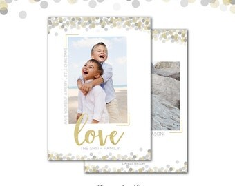 Christmas Card, Gold Confetti, Silver and Gold, Photo Card, Have Yourself a Merry Little Christmas, Printed or Printable
