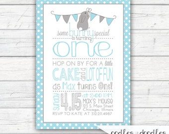 Some Bunny is One Birthday Invitation, Bunny Birthday Boy's First Birthday Blue and Gray Spring Easter, Printable Digital File or Printed