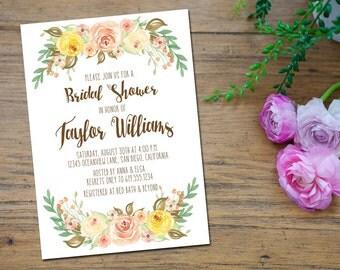 Rustic Floral Bridal Shower Invitation Boho Wedding Shower Baby Shower Printable Invitations Invite Invites Watercolor Flowers