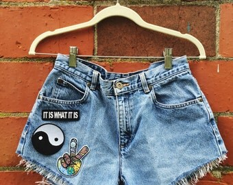 Vintage High Waisted Jean Patch Shorts
