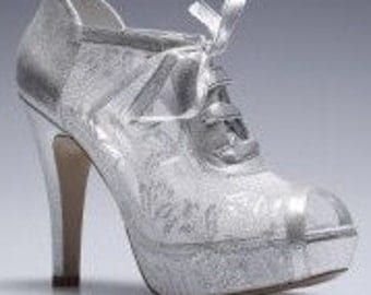 Wedding shoes, Handmade SILVER- GREY GUIPURE Lace and satin wedding shoe designed specially  #8445