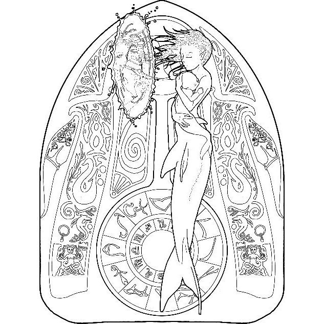 Mermaid coloring page zodiac 04 Cancer