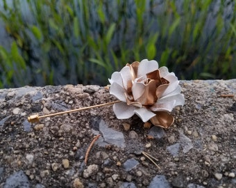 Enamel Flower Lapel Pin Buttonhole Gold and White Metal Bone Rose Lapel Pin Gold Boutonniere Men's Lapel Flower Dapper Gold Lapel Pin
