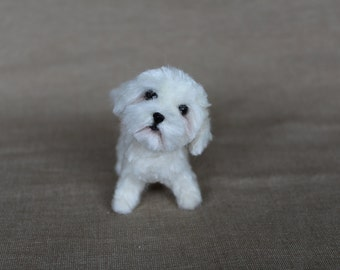 READY TO SHIP Needle Felted Dog-Maltese puppy dog - Wool animal sculpture-eco friendly art-Collectible artist animals