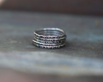 Sterling Silver Textured Rings - Modern Rustic Rings - Oxidized Silver Stacking Rings - Skinny Stack - Boho Rings - Thin Band
