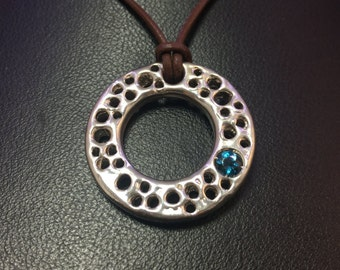 Bio Charm - Silver, Organic, Circle Shape necklace with London Blue Topaz - Organic Jewelry