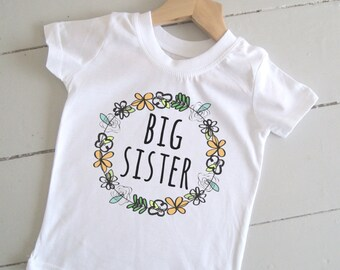 Big Sister T-Shirt - Sibling Gift / Floral Print / New Baby / Toddler / Birth Announcement.