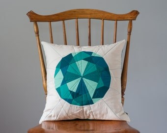 Teal Pillow - Emerald Jewel, Quilted Gem - Pillow Cover