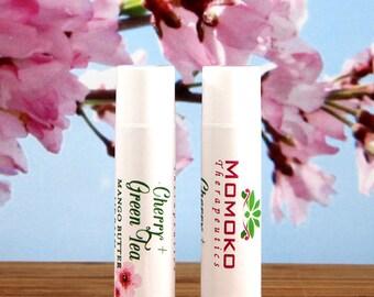 Cherry + Green Tea Mango Butter Lip Balm - vegan, organic, natural lip balm