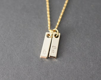 Little Initial bar necklace - Gold initial stamped necklace - personalized necklace - Gold initial vertical bar necklace