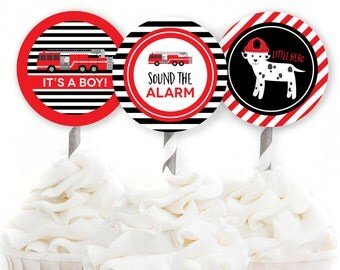 Firefighter Baby Shower, Fire Truck Decor, Firefighter Cupcake Toppers, Sound the Alarm, Fire Engine Shower Decor, INSTANT DOWNLOAD, #C1