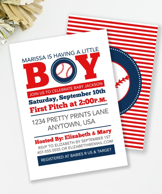 baseball baby shower invitation, sports theme shower, boy baby, Baby shower