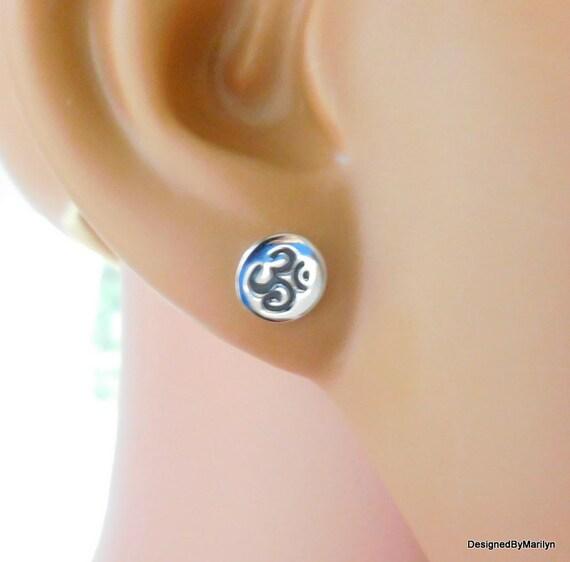 Ohm post earrings, Sterling silver Ohm earrings, stud earrings