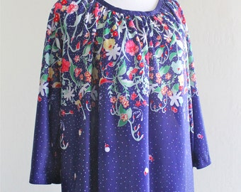 1970's Navy Blue Floral Knit Tunic Dress Long Sleeves Plus Size