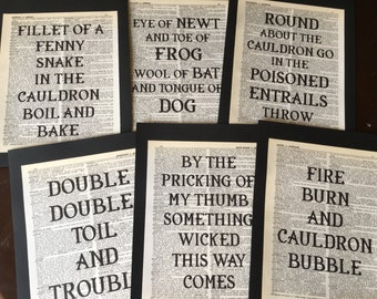 Something Wicked this Way Comes Witches Tea Party Shakespeare Macbeth Halloween Party Dictionary Quote Prints Halloween Decoration Set of 6
