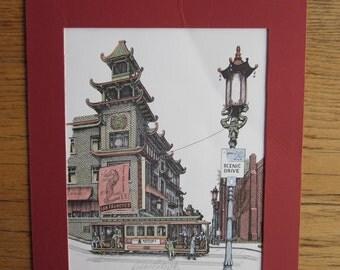 1985 Debbie Patrick San Francisco Chinatown Print Autographed 12/3/85