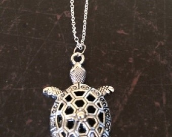 Turtle Necklace - Turtle Jewelry - Turtle Pendant - Silver Turtle Necklace - Tortoise Necklace - Tortoise Jewelry - Silver Necklace - Gift