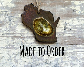 WISCONSIN GEODE CRACKLE Ornament: Custom Ornament, Personalized Ornament, State Christmas Ornament, Geode Ornament, Wisconsin Ornaments
