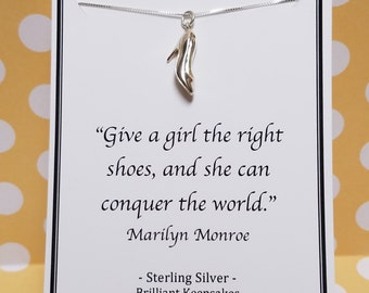 Sterling Silver High Heel Shoe Necklace Marilyn Monroe Quote
