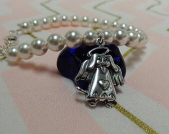 Loss of a Dog Sympathy Gift Bracelet Sterling Silver Dog Angel
