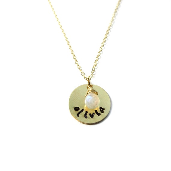 Gold Custom Name Necklace with Moonstone Charm