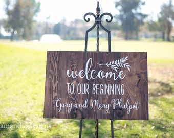 Welcome to our beginning - Wedding welcome sign
