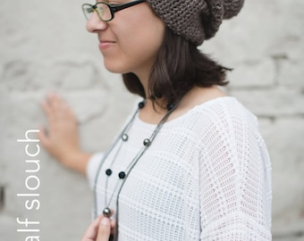 Slouchy Hat Crochet Pattern PDF (The Half & Half Slouch Hat Crochet Pattern by Little Monkeys Crochet) Slouch Hat Pattern, Crochet Slouch