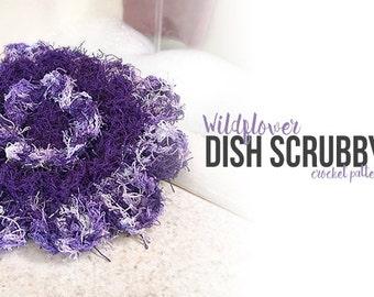 Crochet Dish Scrubby Pattern PDF (Wildflower Dish Scrubby Crochet Pattern by Little Monkeys Crochet) flower dish scrubby crochet pattern