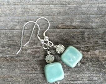 Handmade porcelain earrings - celadon green
