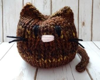 Plump Stuffed Kitty, Hand Knit Cat, Children's Stuffed Toy, Soft Plushie, Baby Shower, Nursery Decor, Chunky Knit