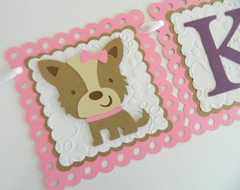 Girl Puppy Name Banner Personalized Puppy Banner Puppy Birthday Party Dog Birthday Party Puppy Decorations Pink Puppy Banner
