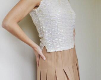 1980's Camel Pleated Skirt