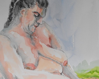 Original figure study, pen and ink, watercolour washes, from life, female model, seated pose, profile, 9 X 12, Figure 77