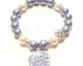 University of North Carolina Tarheels Bracelets, College Football Bracelets, Team Bracelets, Stretchy, Womens Bracelets, Handmade Jewelry
