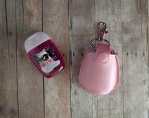Pocket Hand Sanitizer Holder- Light Pink Vinyl with Snap, Great for Backpacks, Bags and Purses, Quick Ship, Choose from 25 Colors