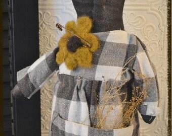 Extreme Primitive Folk Art Black Doll on a Vintage Wood Sewing Bobbin with felted sunflower