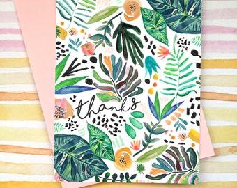 Thank You Card Botanical Jungle Design: Blank inside