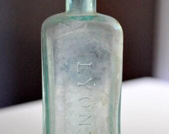 Green Glass Bottle Lyon's Kathairon Hair Tonic New York 1850s